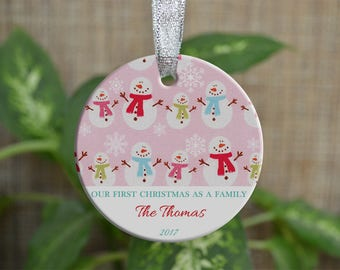 Personalized Christmas Ornament, Our First Christmas as a family ornament, Custom Christmas Ornament, new home gift, Christmas gift. o049
