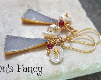 Agate Druzy Natural Gemstone Earrings with Red Ruby & Keshi Pearls, Vermeil, Boho Earrings, Womens Gift Mom, Druzy Jewelry, Drusy Earrings
