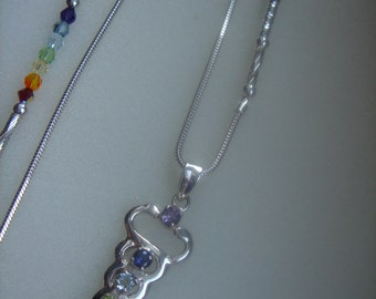 Necklace sterling silver, long, with chakra pendants, colorful design
