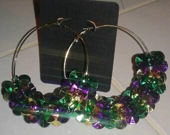 Mardi gras themed hoop earrings