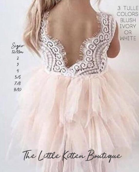 Flower Girl Dress Blush Flower Girl Dress Pink Flower Girl Dress Lace Flower Girl Dress White Flower Girl Dress Ivory Tutu Tulle Vintage
