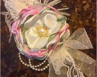 Corsage flower pin custom vintage Headband