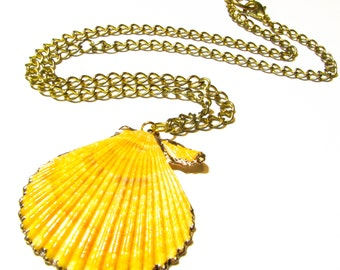 Queen Scallop Sea Shell Necklace - Bright Yellow Scallop Seashell Pendant w/ Gold Leaf Foiling