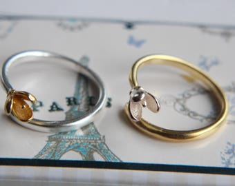 Magnolia Magnolia Ring made of 925 silver dainty flower ring-bicolor-gold or silver