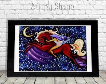 Gypsy Horse Print, Boho Decor, Farmhouse Decor, Bohemian Wall Art, Colorful Wall Art, Magical, Equine Lover Gift, Pony, Horse Giclee, Shano