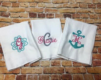 3 Burp personlized burp cloths ..... mongrammed burp cloths, appliqué shirt, embroidery burp cloths