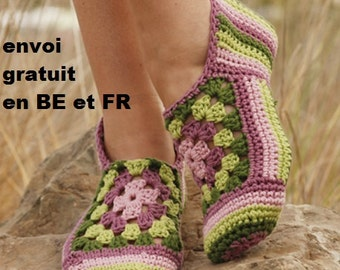 Woman in cotton slippers style crochet, slippers women, mother's day, birthday gift, socks, shoes, granny