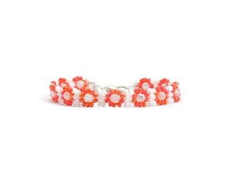 Girls Beaded Bracelet - Orange Flower Child's Bracelet - Seed Bead Jewelry for Children - Kids Daisy Chain Bracelet