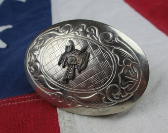Vintage 1980's Horse Riding Saddle Belt Buckle Cowboy Silver Tone Brass Floral Western Wear Made in Usa Oval