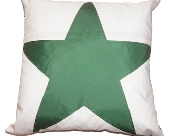 Nautical Recycled Sail Green Star Pillow