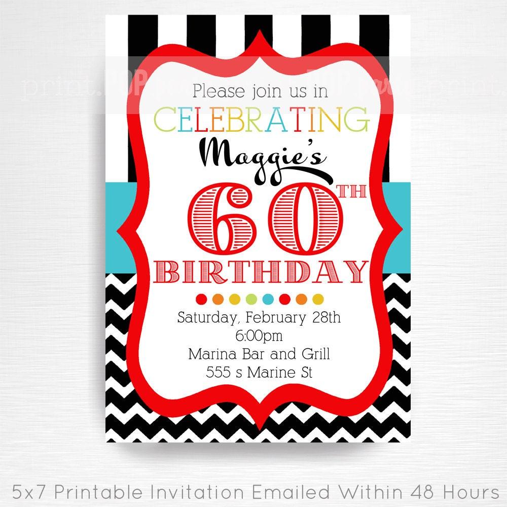 60th Adult Birthday Party Printable Invitation YOU Print