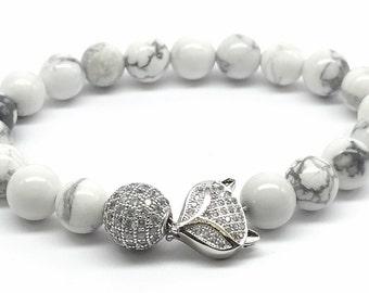 Fox bracelet Fox charm white bracelet howlite bracelet silver pave white jewelry White beads Braceletwhite gemstone silver fox