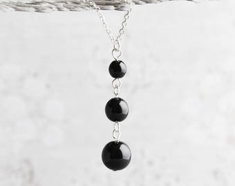 Black pearl pendant etsy black pearl necklace glossy black pearl pendant on silver plated chain black necklace bridesmaid jewelry aloadofball Gallery