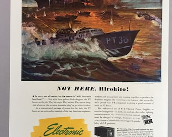 1944 Electronic Laboratories and Rustless Iron and Steel Corporation Print Ads - PT Boats - World War II Era