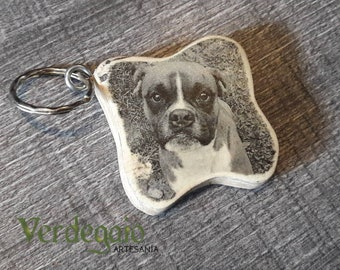 Wooden keychain with photo