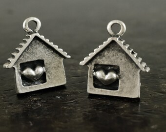 House charm, Antique Silver house Heart pendant 21x28mm, Love Heart Sweet Home, Home Charm, 1 piece