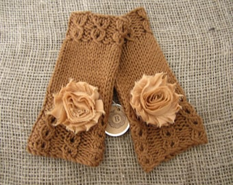 Fingerless Mitts, Cable Mitts, Hand Knit Mitts, Caramel Fingerless Gloves, Hand Warmers, Embellished Fingerless Mitts, Shabby Chic Flowers