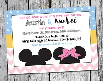 Mickey Mouse printable 5x7 invitation  invite for twins birthday or siblings pastel colors first birthday party Disney inspired Micky Minnie