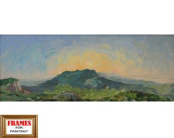 Sunrise art Plein air painting Original art Colorful painting Landscape art Mountains painting Wall art Oil on cardboard by A. Onipchenko