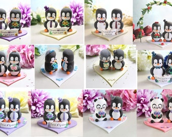 Unique wedding cake topper Penguins + felt base/stand - bride groom cake toppers wedding purple pink blue gold elegant cute personalized