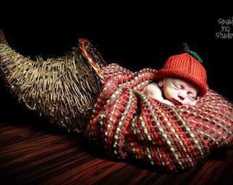 Pumpkin Hat Pumpkin Spice, Knit Cotton Baby Hat great photo prop