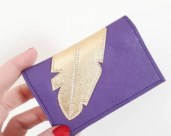 """""""Forget-me-not"""" adorned with a feather pattern leather wallet gold stitched Japanese fabric lining"""