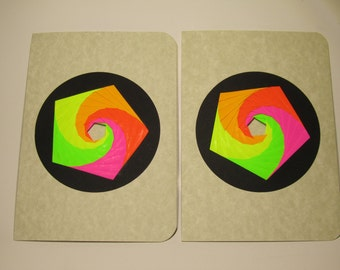 GREETING Cards w/Spectacular Pentagon Shaped Iris Folding in Fluorescent Neon Shades of Green, yellow, Orange and Pink Handmade OOAK