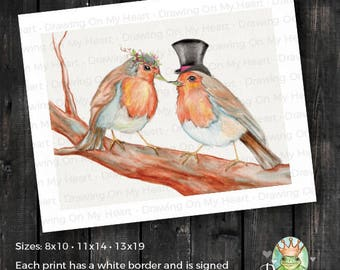 English Robins Fine Art Print - Original Hand Painted Watercolor and Colored Pencil - Love Birds - 8x10 - 11x14 - 13x19