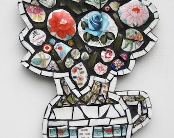 Flowers in pot, mosaic wall art