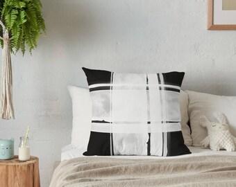 Plaid Throw Pillow- Geometric Pillow- Accent Pillow- Throw Pillow- Geometric- Black and White- Modern Pillow- Plaid Pillow- Pillow- Home