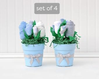 Baby Boy Shower Centerpieces, Boy Baby Shower Package, Baby Table Decoration, Flower Bouquet Centerpiece, Baby Boy Centeriece Set