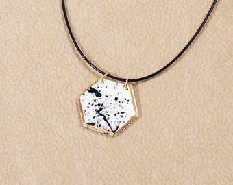 Spash - hexagonal porcelain necklace with gold luster - OOAK | Porcelain jewelry | Everyday jewelry | Abstract | Geometry | Gift for woman