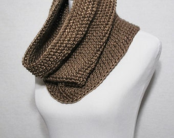 Taupe Crochet Scarf, Brown Crochet Cowl, Gold Neck Warmer, Brown Infinity Scarf, Linen, Beige Snood