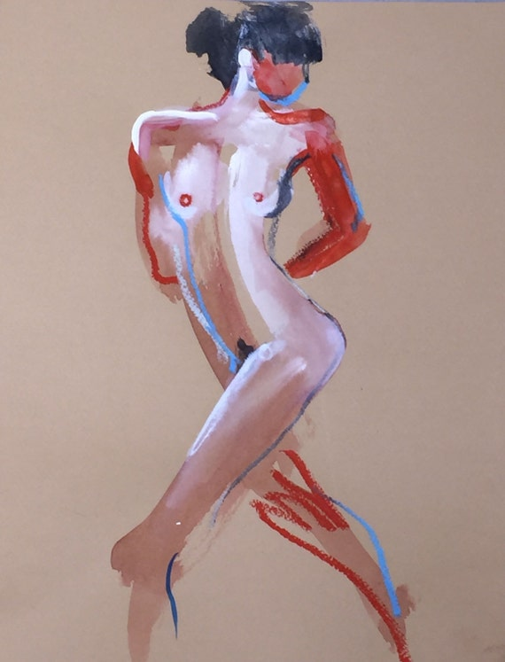 Nude painting- One Minute Pose 98.4 -painted sketch by Gretchen Kelly
