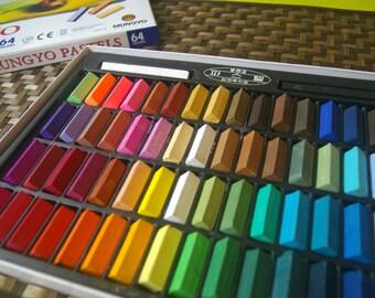 Square Chalk Pastel 24/32/48/64 Colors Set Half Sticks Soft Drawing Crayons