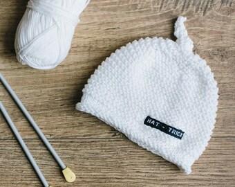 White Baby Beanie for Girl or Boy - Hand Knit Cotton Baby Hat for Newborn to 3 Months - Newborn Beanie Hat