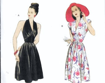 Butterick B5209 Retro 47' Vintage 1940s Halter Sundress Evening Dress Sewing Pattern Size 14, 16, 18 and 20 UNCUT