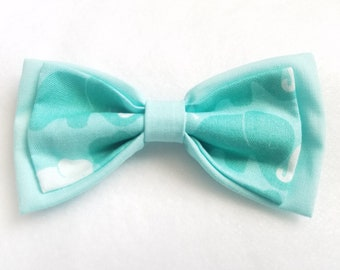Mint Green Cotton + Elephant Mint Green Double Bow tie for kids boy toddler or baby Sizes NB - 7 Yrs