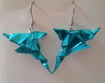 Origami Earrings Foil Dolphin