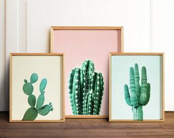 Cactus print Wall art prints PRINTABLE art set Modern art