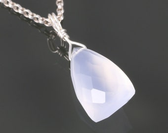 Blue Chalcedony Necklace. Sterling Silver. Unique Triangle Shape. Genuine Gemstone. Pale Blue. f16n010