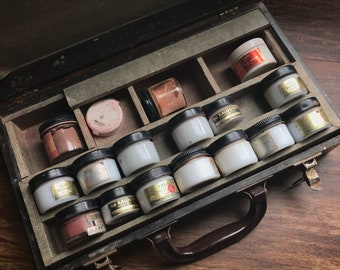 1940s antique morticians makeup kit and other funeral items