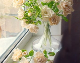 the price of one branches. The branch consists of three large flowers, several buds and leaves. cold porcelain, floral arrangement,dog-rose