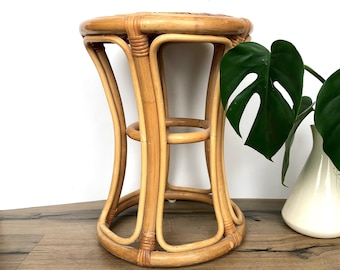 Vintage Stool | Bamboo/Rattan Woven Plant Stand or Stool | Boho Home Decor