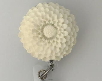 ID Badge Reel White Flower -  Chrysanthemum - Resin Flower Cabochon on Retractable Badge Holder 359