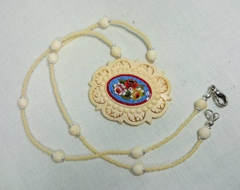 Vintage Celluloid Micro Mosaic Italian Pendant Necklace