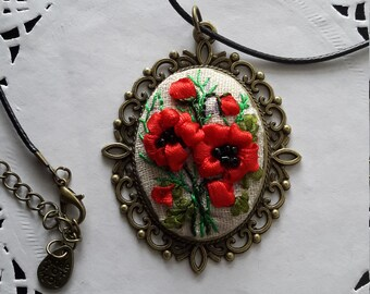 Poppy -- hand embroidered necklace