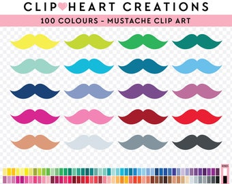 100 mustache Clipart, Commercial use, PNG,  Digital clip art, Digital images, Rainbow digital scrapbooking clip art, moustache clipart, man