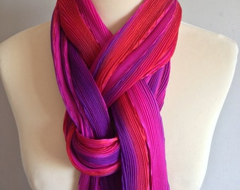 Shibori pleated silk scarf- mixed berry