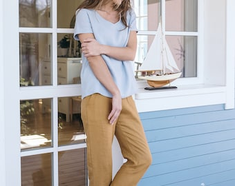 Linen Blouse / Women's shirt / Linen Top / Loose fit / V Neck Line / Linen T-shirt / Basic Linen Top / Minimal Linen Blouse / Maxi Blouse